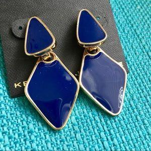 NWT Kenneth Jay Lane Blue Enamel Earrings